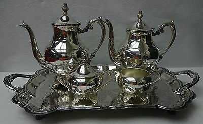 "F B ROGERS Silverplate TEA SET - 23"" Footed Waiter Tray Coffee Pot Teapot Cr/Su"
