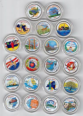 Lot of 21 Colorized State Quarters