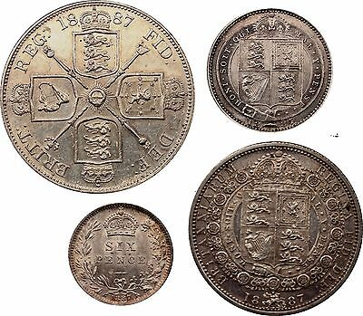1887 Victoria Double Florin Half Crown Shilling & Sixpence silver coins 4 total