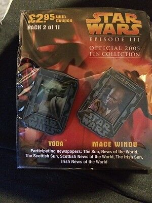 SEALED STAR WARS EPISODE III OFFICIAL PIN COLLECTION. Yoda And Mace Windu