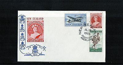 1955 New Zealand Stamp Exhibition Stamp Centennial Set Of 3 Unaddressed FDC, MC