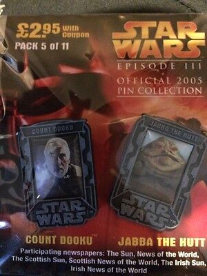 SEALED STAR WARS EPISODE III OFFICIAL PIN COLLECTION. Count Dooku And Jabba The