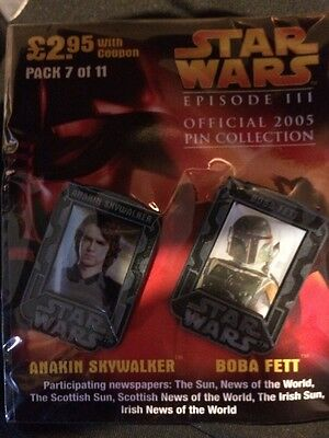 SEALED STAR WARS EPISODE III OFFICIAL PIN COLLECTION. Anakin Skywalker And Boba