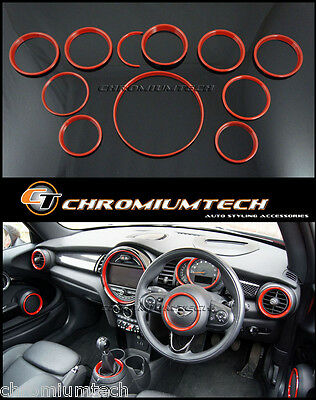 MK3 F56 MINI Cooper/S/ONE RED Interior Rings Trim Kit for models w/Navigation XL