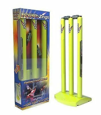 Zings Flashing Cricket Stumps Wickets, Bails, base, batteries included