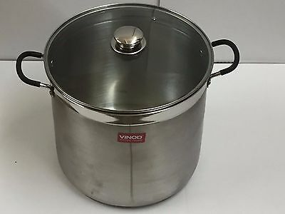 30cm Large 20L Deep Stainless Steel Cooking Stock Pot Casserole Glass Lid