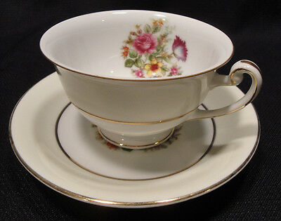 HIRA CHINA Teacup Saucer Occupied Japan White Cream Rose Floral Gold Accent Vtg