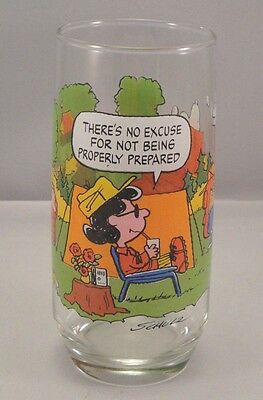 MCDONALDS Camp Snoopy Drinking Glass 1968 Peanuts Charles Schulz Woodstock VTG