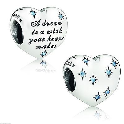 Authentic Pandora Sterling Silver Bead Disney Cinderella Heart Charm Dream Wish