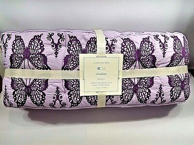 Pottery Barn Baby Kids Windsor Embroidered Butterfly Crib Bumper Lavender NWT