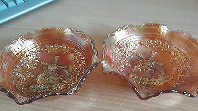 luster ware amber glass dishes windmill x2