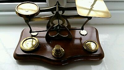 Vintage brass postal letter scales with original brass weights & base .