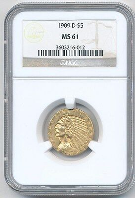 1909-D  Indian Head Half Eagle $5 Gold Ngc Ms61