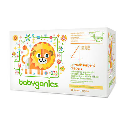 Babyganics Ultra Absorbent Disposable Diapers Size 4 Value Pack -80 Count