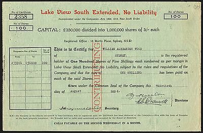Western Australia: Lake View South Extended NL, 100 shares of 5/- 1934
