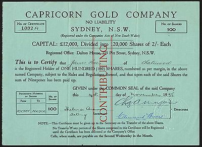 New South Wales: Capricorn Gold Co NL, 100 shares, 1935, VF