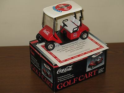 Coca-Cola 1:16 Die Cast Golf Cart Coin Bank New in Box Coke