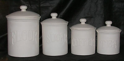 Duncan Ceramic Bisque Country Kitchen Canister Set Ready to Paint