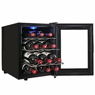 AKDY® 12 Bottle Single Zone Thermoelectric Stainless Steel Freestanding Wine