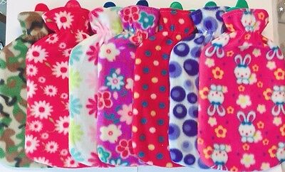 New Soft Warm 2Liter Large Hot Water Bottles With Removable Flower Fleece Covers