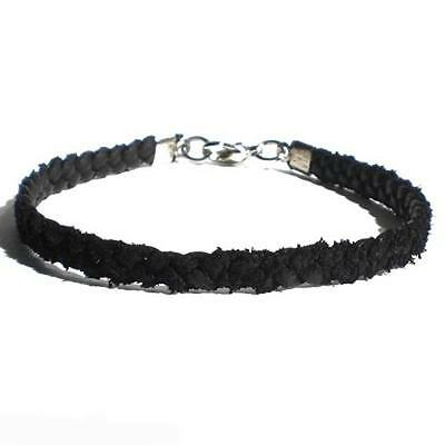 Thin Black Real Leather Plaited Platted Woven Anklet Ankle Bracelet Strap Clasp