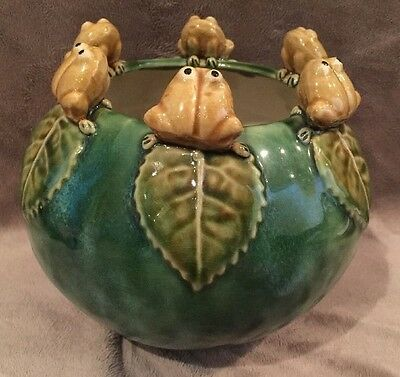 Ceramic Frog Planter with 6 Frogs On Lily Pads