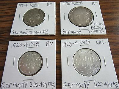 Lot of 4 Germany Coins, Marks - 2, 5 (silver), 200, 500