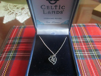 Charming Celtic Heart Pendant And 18Ins Chain In Sterling Silver 925 By Sea Gems