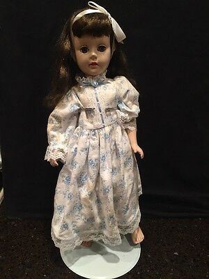 "21"" Vintage Porcelain Bisque Doll w Glass Eyes, Jointed Arm&Leg Attachments."