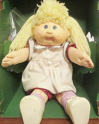 """Tall 17"""" Blonde Paci with Cabbage Plaid Dress Set! Hard to Find! Lavender Eyes!"""