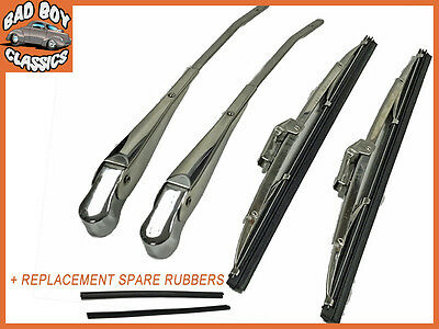 """Kstar OE High Quality Stainless Steel 12"""" Wiper Blades & Arms Set Fits MGB GT"""