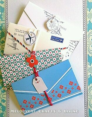 LETTER SET WRITING NOTE PAD ENVELOPE String Tag Wrapping Style, 4 Design/Pack