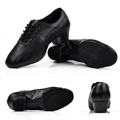 Adult men children boy ballroom latin salsa tango dance shoes heeled black Hot