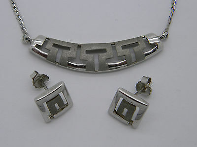 Solid Silver Square Spiral Ecanisa Earrings & Necklace Set
