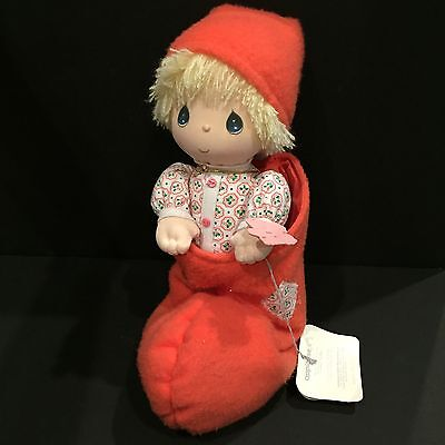 """Precious Moments Doll """"Danny"""" In A Stocking Christmas With Tags"""