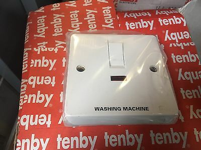 Tenby Glacier 7049 - 20A  Double Pole Switch With Neon ENGRAVED WASHING MACHINE