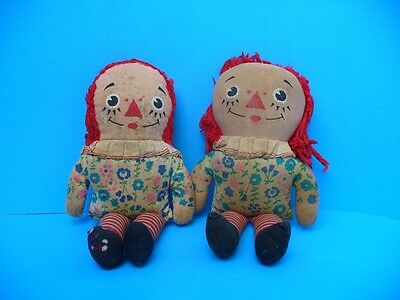 Antique VERY Raggedy Ann and Andy doll - small 7 inch