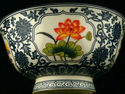 Large Antique Chinese Qing Blue & White W/Famille Rose Porcelain *Flower* Bowl