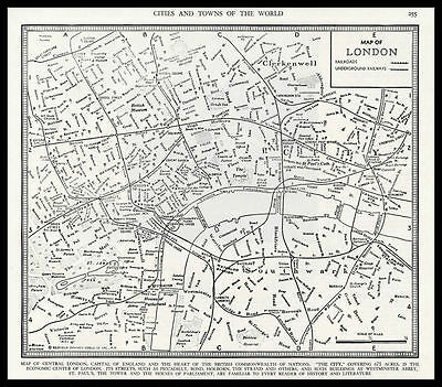 City of LONDON England Britain Europe 1945 antique detailed Plan Map