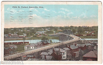 AK USA Post Card Fifth St. Viaduct Zannesville gel. 1920