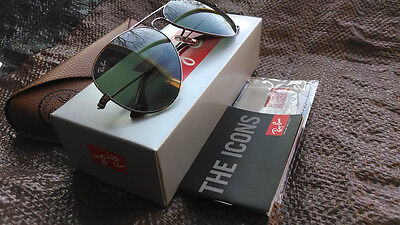Aviator Authentic Ray-Ban Sunglasses 3025 W0879 58 Gunmetal Frame Green G15 Lens