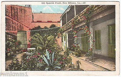 AK USA Post Card Old Spanish Court New Orleans gel. 1922