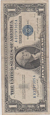 1957 A Blue Seal  $1 One Dollar Silver Certificate Bill - Old Paper Money Lot A