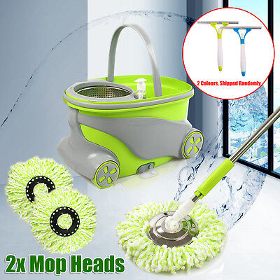 360° Spinning Spin Mop Stainless Steel Dry Bucket Free 2 Microfibre Mop Heads AU