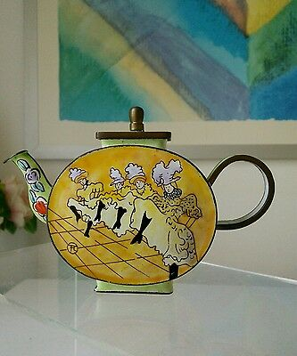 Vintage Miniature Copper Enamelled Hand Painted Teapot Cloisonne Style Chinese