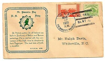 1935 USS PENNSYLVANIA Cover ST. PATRICK'S DAY   Check Out Our Ebay Auctions!!!