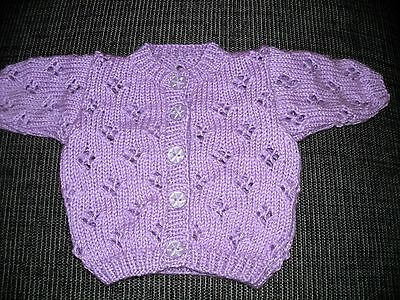 Brand New Handknit Cardigan To Fit Baby Girl Aged 0 - 3 Months
