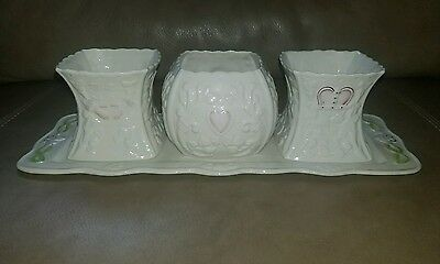 Belleek Claddagh Harmony Limited Edition Candle Holder vase Tray Set 1631/2250