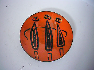 Signed De Passille Sylvestre Mid Century Modern Abstract Enamel On Copper Plate