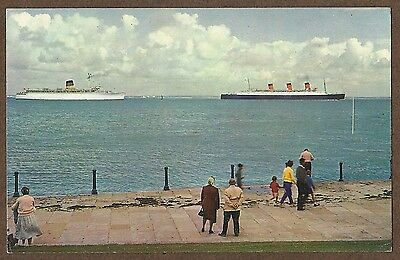 Postcard Of Rms Queen Mary Passing Isle Of Wight